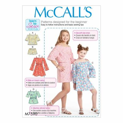 McCalls Sewing Pattern M7590 Children's/Girls' Off-the-Shoulder Top, Dress and Romper with Sleeve Variations