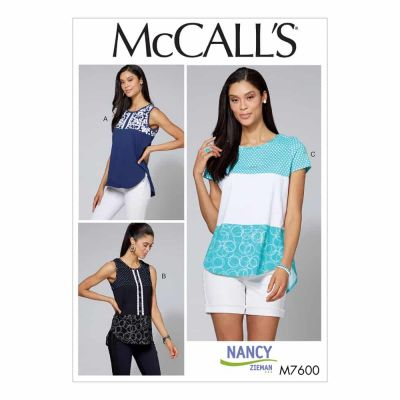 McCalls Sewing Pattern M7600 Misses'/Women's Pullover Tops with Contrast and Sleeve Variations