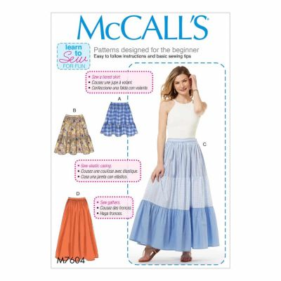 McCalls Sewing Pattern M7604 Misses' Pull-On Gathered Skirts with Tier and Length Variations