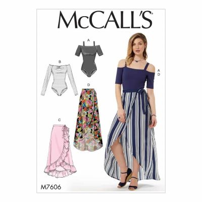 McCalls Sewing Pattern M7606 Misses' Off-the-Shoulder Bodysuits and Wrap Skirts with Side Tie