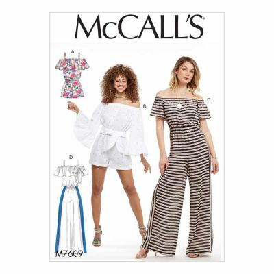 McCalls Sewing Pattern M7609 Misses' Pull-On Off-the-Shoulder Rompers and Jumpsuits with Elastic Waist and Sash