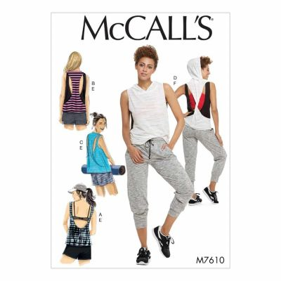 McCalls Sewing Pattern M7610 Misses' Pullover Tops with Back Variations and Pull-On Shorts and Pants with Elastic Waist