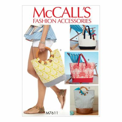 McCalls Sewing Pattern M7611 Misses' Lined Tote Bags with Contrast Variations