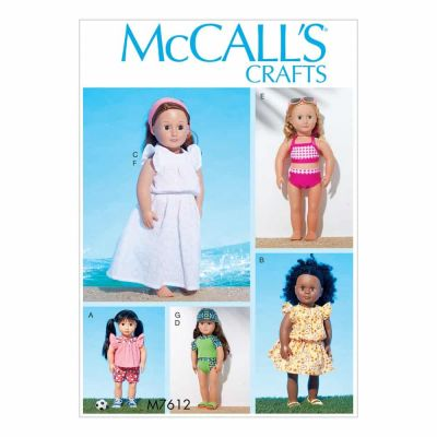 "McCalls Sewing Pattern M7612 18"" Doll Top with Contrast Yoke and Shorts, Swimsuit with Contrast Variations and Headband"