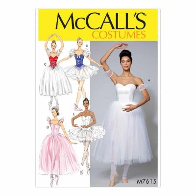 McCalls Sewing Pattern M7615 Misses' Ballet Costumes with Fitted, Boned Bodice and Skirt and Sleeve Variations