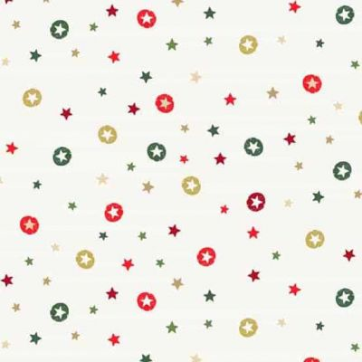 Makower Modern Metallic Christmas Stars Snow Cut Length