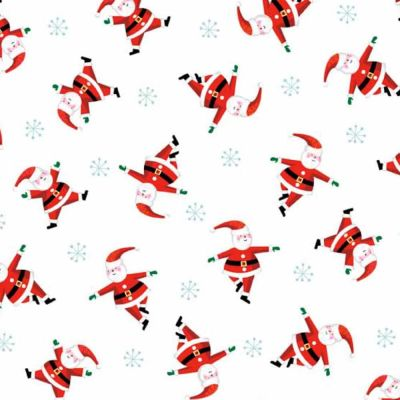 Makower Jolly Santa Scatter white Cut Length