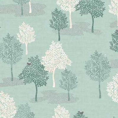 Makower Woodland Trees Turquoise Cut Length
