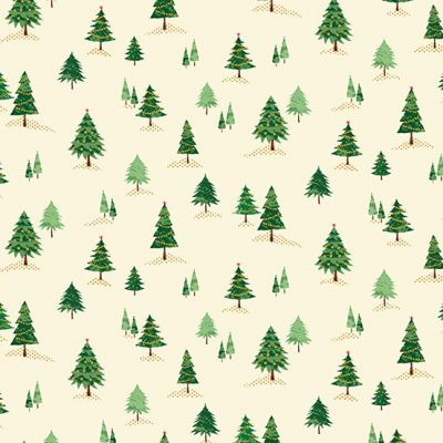Makower Twelve Days Mini Trees Cream Cut Length