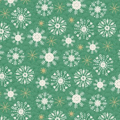 Makower Merry Snowflakes Green Cut Length