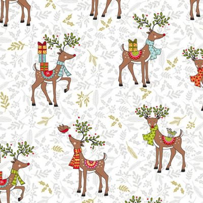 Makower Festive Reindeer White Cut Length
