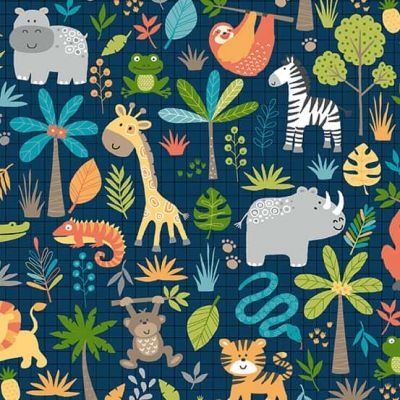 Makower - Jungle Friends - Animal Montage Blue