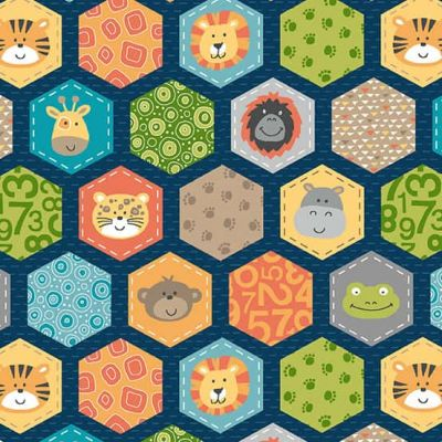 Makower - Jungle Friends - Hexagons Blue