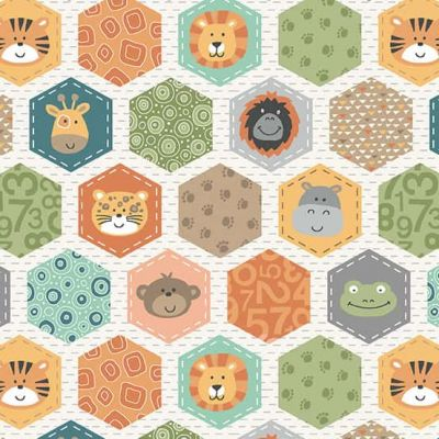 Makower - Jungle Friends - Hexagons White