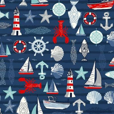 Makower Sail Away Icons Blue Cut Length