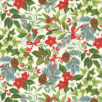 Makower - Yuletide - Foliage Cream Metallic