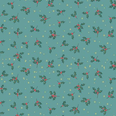 Makower - Yuletide - Holly Teal Metallic