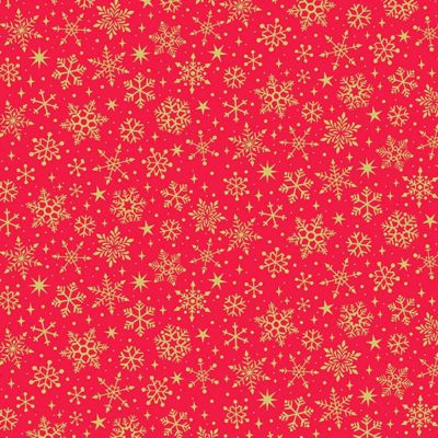 Makower - Yuletide - Snowflake Red Metallic