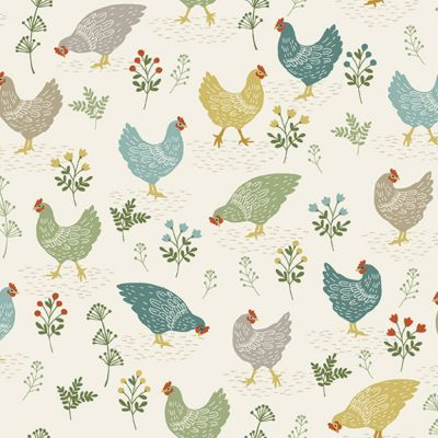 Makower - Clara's Garden - Chickens Cream