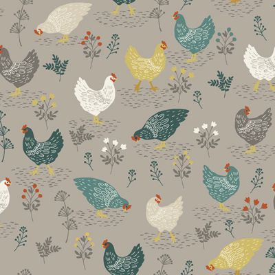 Makower - Clara's Garden - Chickens Grey
