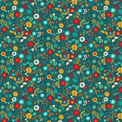 Makower - Folk Friends - Floral Teal