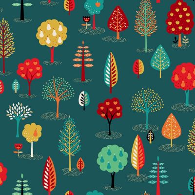 Makower - Folk Friends - Trees Teal