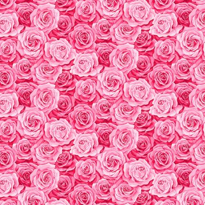 Remnant - Makower - Summer Garden - Packed Rose Pink - 34 x 110cm