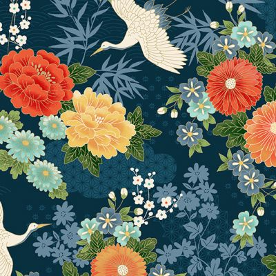 Makower - Michiko - Large Floral Blue Metallic