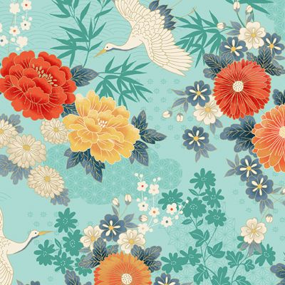 Makower - Michiko - Large Floral Teal Metallic