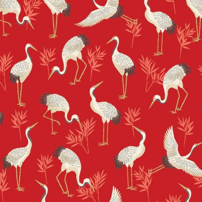 Makower - Michiko - Cranes Red Metallic