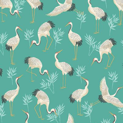 Makower - Michiko - Cranes Teal Metallic