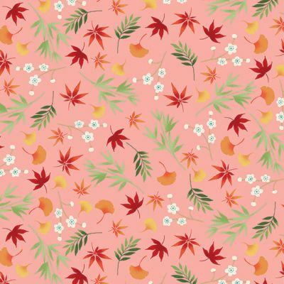 Makower - Michiko - Foliage Pink Metallic