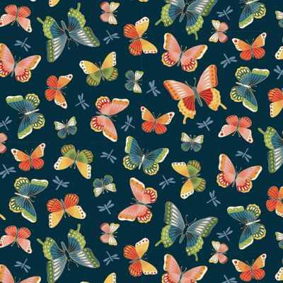 Makower - Michiko - Butterflies Navy Metallic