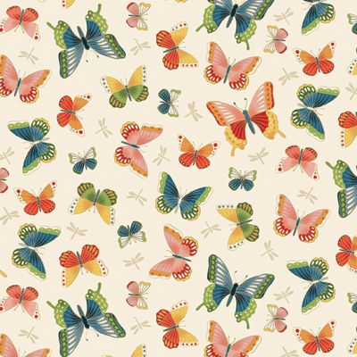 Makower - Michiko - Butterflies Cream Metallic