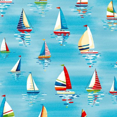 Makower - Beside The Sea - Sailboats Light Blue