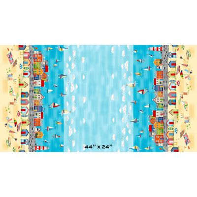 Remnant -Makower - Beside The Sea - Scenic Double Border Print - 30 x 110cm