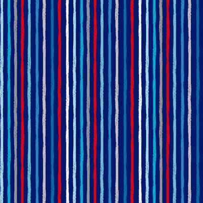 Remnant -Makower - Beside The Sea - Chalky Stripes Blue - 40 x 110cm