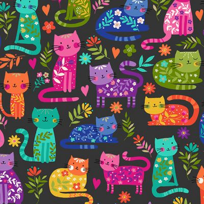 Remnant - Makower - Katies Cats - Cats Allover Black - 18 x 110cm
