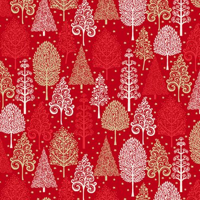 Makower - Scandi 2021 - Trees Red Metallic
