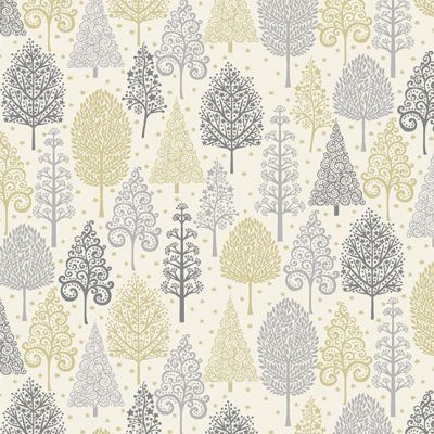 Makower - Scandi 2021 - Trees Silver Metallic