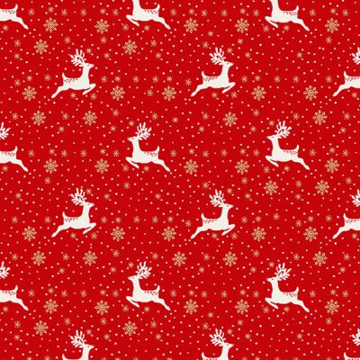 Makower - Scandi 2021 - Reindeer Red Metallic