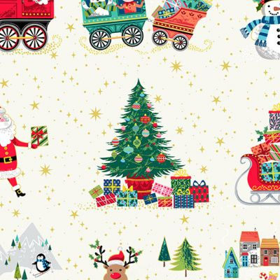 Makower - Santa Express - Scenic Cream Metallic