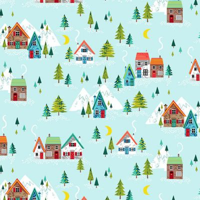 Makower - Santa Express - Alpine Village Teal Metallic