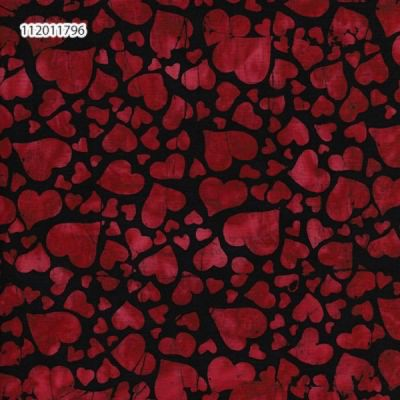 Makower - Island Batiks 2021 - Tossed Hearts Black