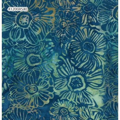 Makower - Island Batiks 2021 - Woodblock Flower Waterfall