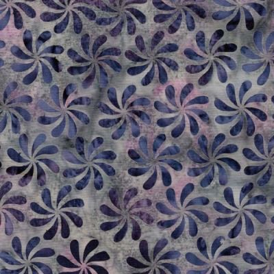 Makower Island Batiks 2020 Droplet Pinwheels Navy Cut Length