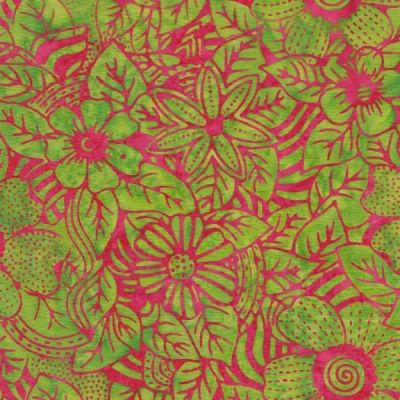 Makower Islnd Batiks 2020 Floral In Lime And Fuchsia Cut Length
