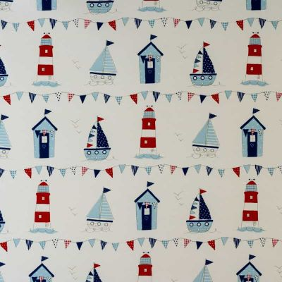 Seaside Icons - Blue - Curtain Fabric