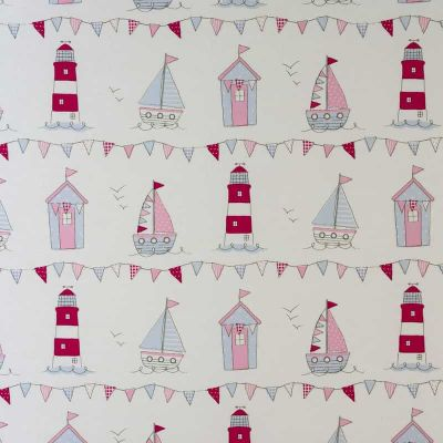 Seaside Icons - Pink - Curtain Fabric