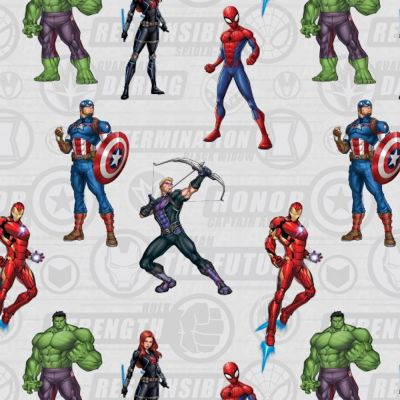 Cotton Poplin Fabric - Marvel Avengers Standing